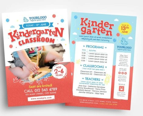 Kindergarten Flyer Template (PSD, Ai & Vector)