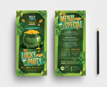 Saint Patrick's Day Party Flyer Template (DL Card)
