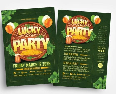 St. Patrick's Day Party Flyer Template (PSD, Ai & Vector)