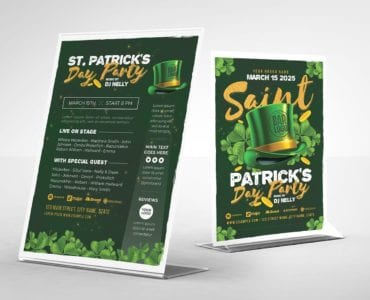 St. Patrick's Day Party Flyer Template (Table Tent)