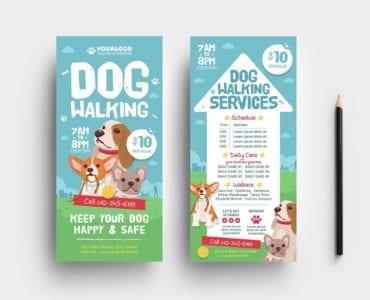 Dog Walking DL Rack Card Template