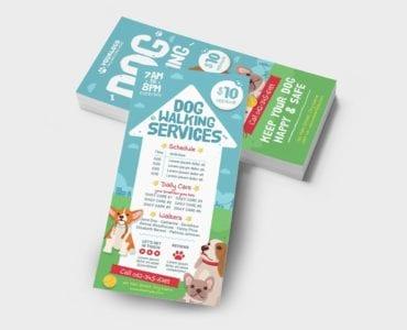 Dog Walking DL Rack Card Template (Back)