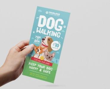 Dog Walking DL Rack Card Template (Front)
