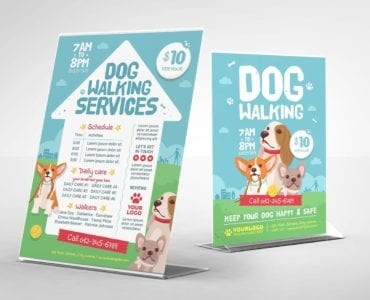 Dog Walking Flyer Template (Table Tent Mockup)