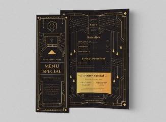 Art Deco Bi-Fold Menu Template for Cocktail Bars