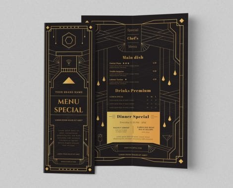 Art Deco Bi-Fold Menu Template for Cocktail Bars
