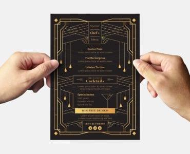 Art Deco Cocktail Bar Flyer Template (Back)