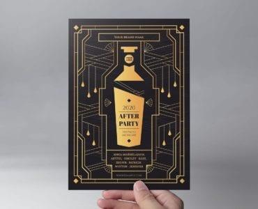 Art Deco Cocktail Bar Flyer Template (Front)