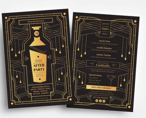 Art Deco Cocktail Bar Flyer Templates