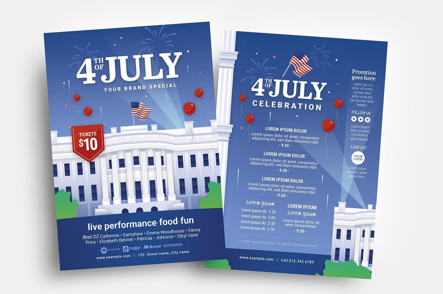 Fourth July Flyer Template with White House Illustration