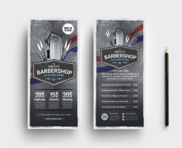 Barber Shop DL Card Template
