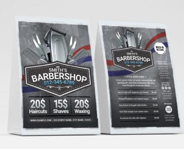 Barber Shop Table Tent Template (Front)