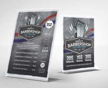 Barber Shop Table Tent Template (Back)