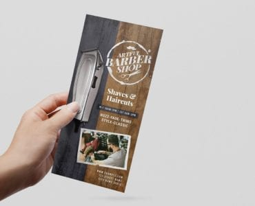 Rustic Barber Shop DL Card Template