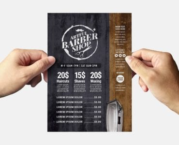 Rustic Barber Shop Flyer Template (Back)