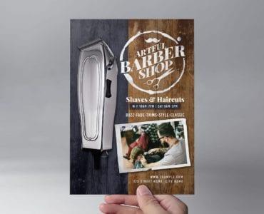 Rustic Barber Shop Flyer Template (Front)