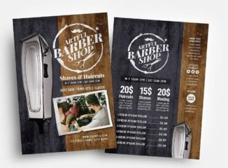 Rustic Barber Shop Flyer Template