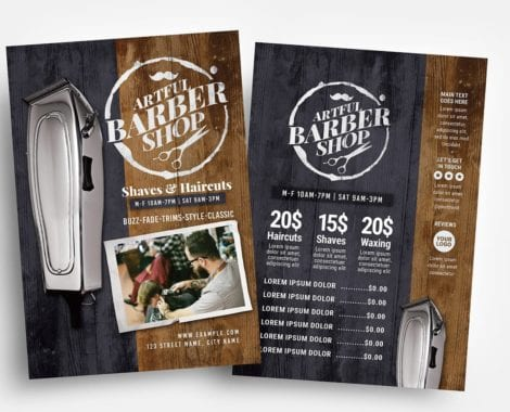 Rustic Barber Shop Flyer Template