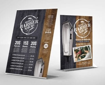 Rustic Barber Shop Table Tent Template (Back)