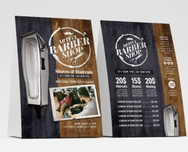 Rustic Barber Shop Table Tent Template