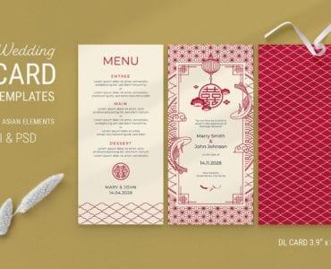 Asian Wedding DL Menu Layout Template