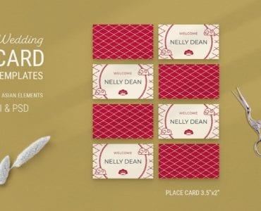 Asian Wedding Place Card Templates