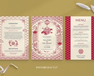 Asian Wedding Postcard / Invitation Templates PSD & Vector