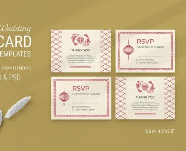 Asian Wedding RSVP Card Template