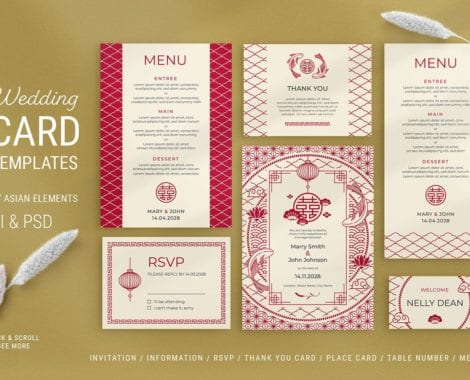Asian Wedding Templates in PSD & Vector