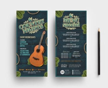 Country Nights Flyer Template (DL Card)