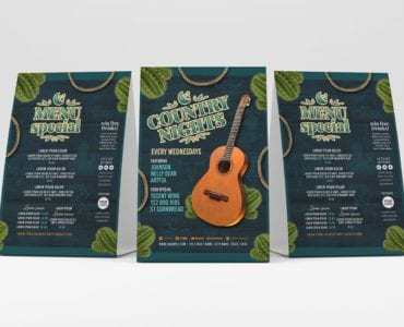 Country Nights Flyer Template (Table Tent)
