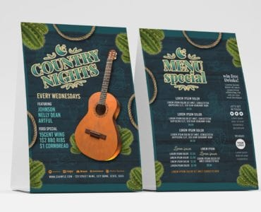 Country Nights Flyer Template (Table Tent Front)