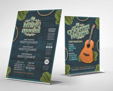 Country Nights Flyer Template (Table Tent Back)