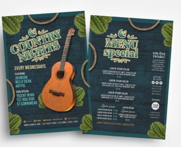 Country Nights Flyer Template (PSD, Ai & Vector
