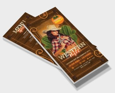 Country & Western Party DL Flyer Template (Front)