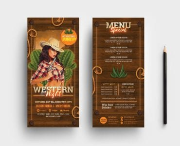 Country & Western Party DL Flyer Template (Rack Card)