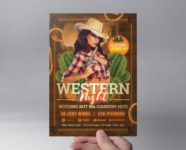 Country & Western Party Flyer Template (Front)
