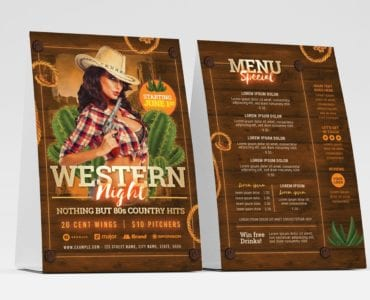 Country & Western Party Flyer Template (Table Tent)