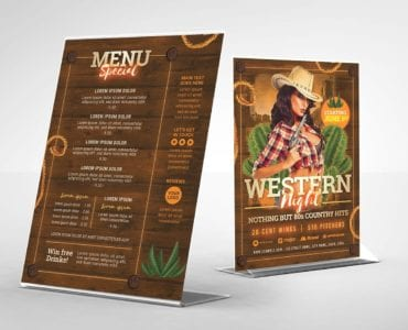 Country & Western Party Flyer Template (Table Tent Back)