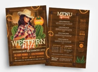 Country & Western Party Flyer Template