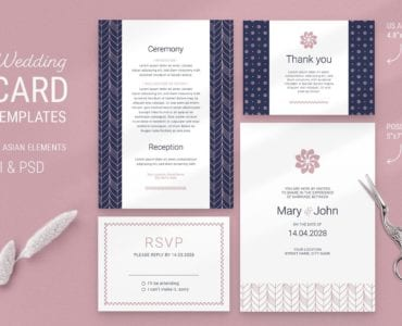 Navy & Pink Wedding Stationery Templates