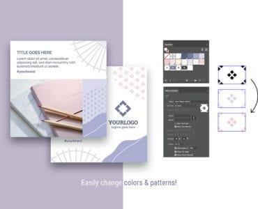 Abstract Pastel Social Media Templates for Photoshop & Illustrator