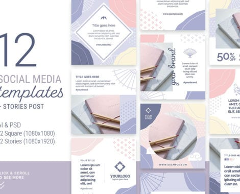 Abstract Pastel Social Media Templates