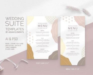 Champagne Pastel Wedding Menu Templates