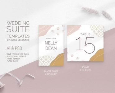 Champagne Pastel Wedding Place Card Templates