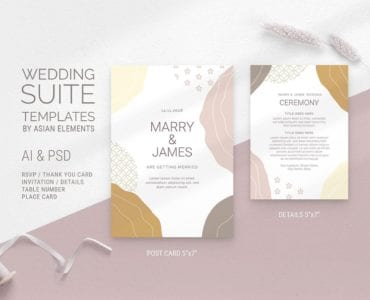 Champagne Pastel Wedding Postcard Template