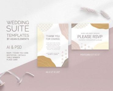 Champagne Pastel Wedding RSVP Templates