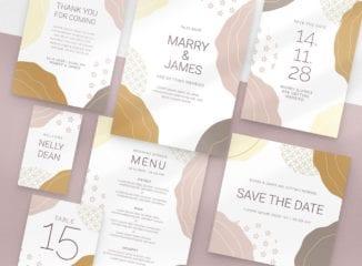 Champagne Pastel Wedding Stationery Templates