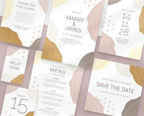 Champagne Pastel Wedding Stationery Templates