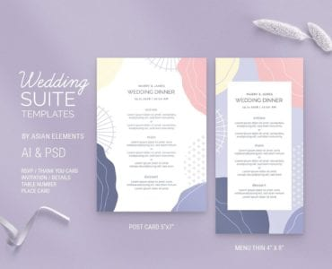 Abstract Pastel Wedding Menu DL Template